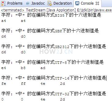 一个汉字使用不同编码方式的表现