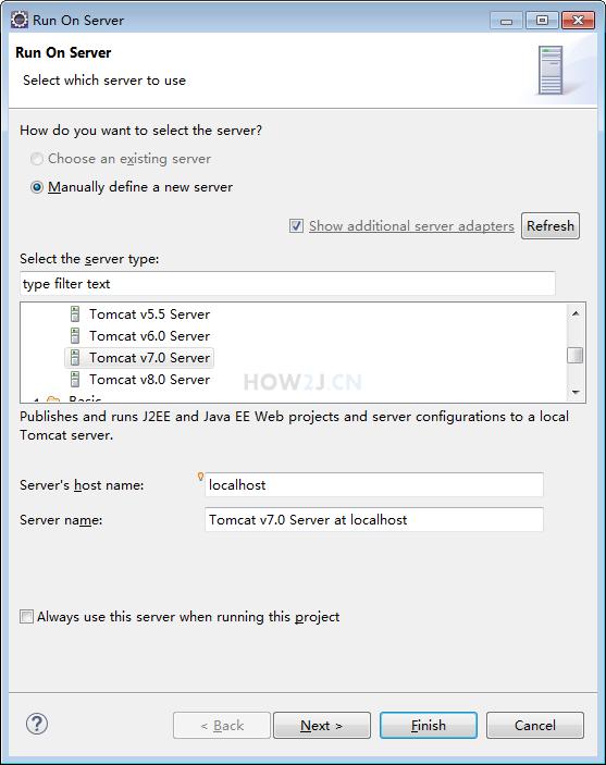 通过Eclipse启动Tomcat-服务器选择Tomcat v7.0 Server